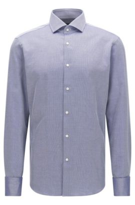 Finely patterned regular-fit shirt in cotton with turn-back cuffs: 'Gardner', Dark Blue