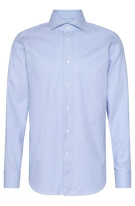 Chemise en coton Regular Fit Tailored à motif : « T-Stenson », Bleu