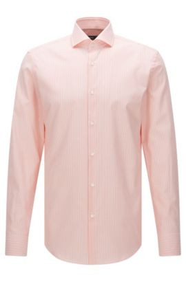 Camisa de rayas slim fit en algodón con textura: 'Jason', Naranja claro