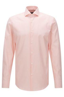Chemise Slim Fit à rayures en coton structuré: «Jason», Orange clair