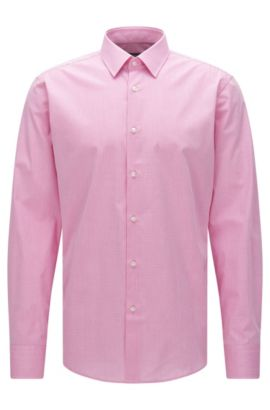 Checked regular-fit shirt in stretch cotton: 'Enzo', light pink