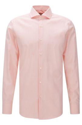Camisa slim fit con estampado fino en algodón: 'Jerrin', Naranja claro
