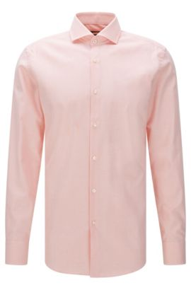 Finely patterned slim-fit cotton shirt: 'Jerrin', Light Orange