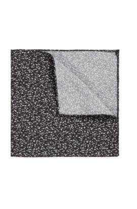 Pochet van zijde met fijn dessin: 'Pocketsquare 33x33cm', Zwart