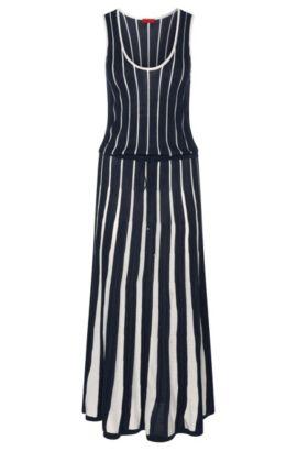 Gebreide jurk met streepdessin, van een zijdemix met viscose, katoen en kasjmier: 'Stephora', Bedrukt