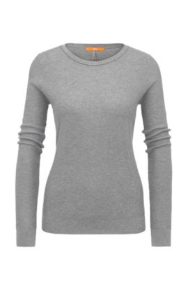 Relaxed-fit sweatshirt in cotton blend with silk in a honeycomb texture: 'Injkey_2', Grey