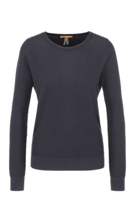Relaxed-fit sweatshirt in cotton blend with silk in a honeycomb texture: 'Injkey_2', Dark Blue