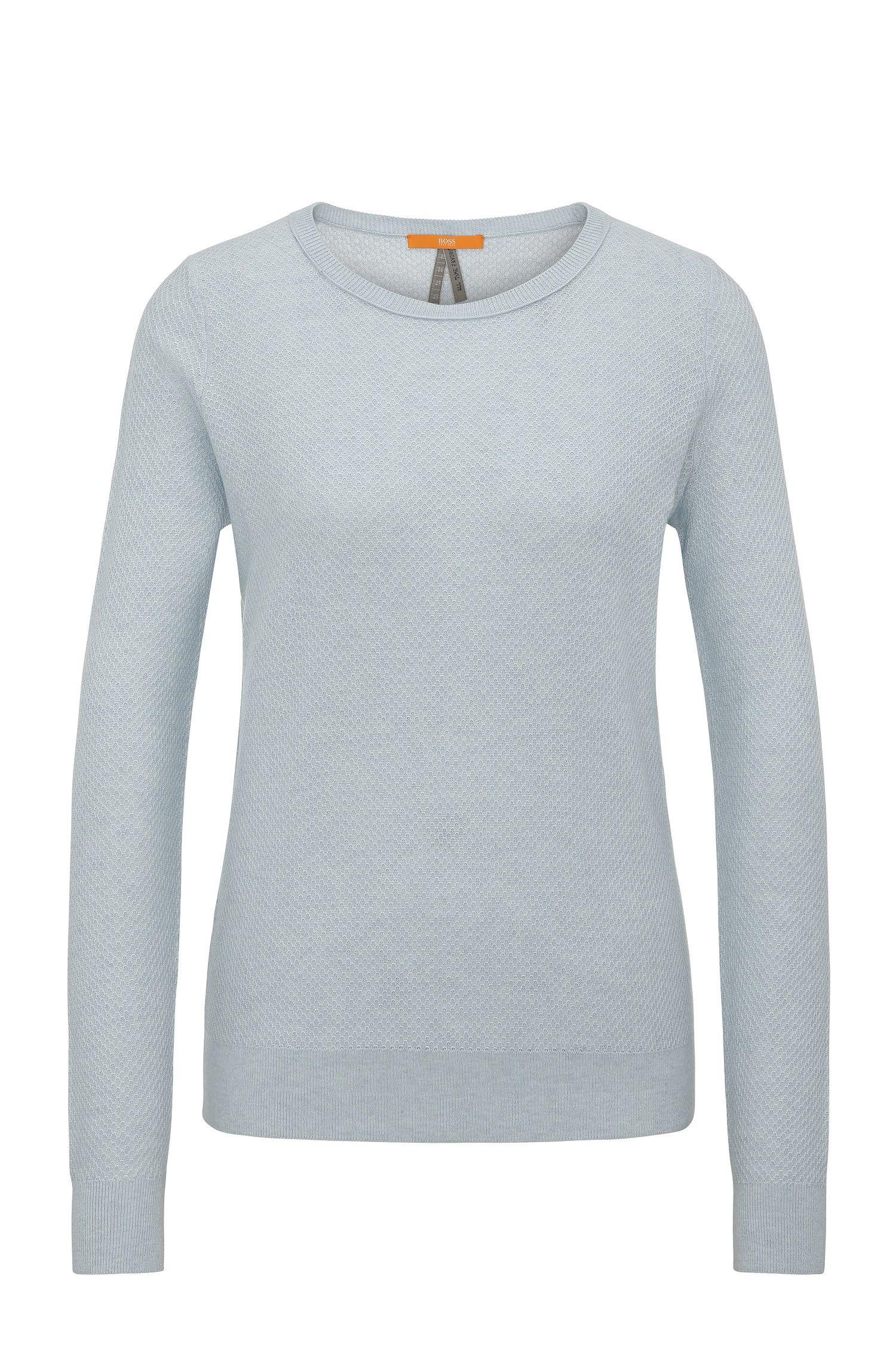 Relaxed-Fit Sweatshirt aus Baumwoll-Mix mit Seide in Waben-Struktur: ´Injkey_2`