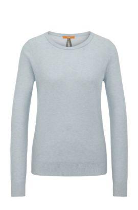 Relaxed-Fit Sweatshirt aus Baumwoll-Mix mit Seide in Waben-Struktur: ´Injkey_2`, Hellblau