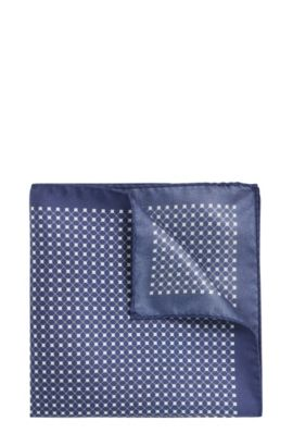 Pañuelo de bolsillo estampado en seda: 'Pocketsquare 33x33cm', Azul oscuro
