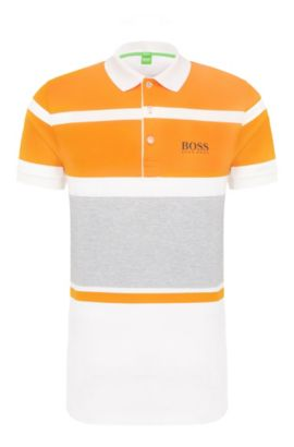 Regular-fit polo shirt in stretch cotton with stripes: 'Paddy Pro 1', White