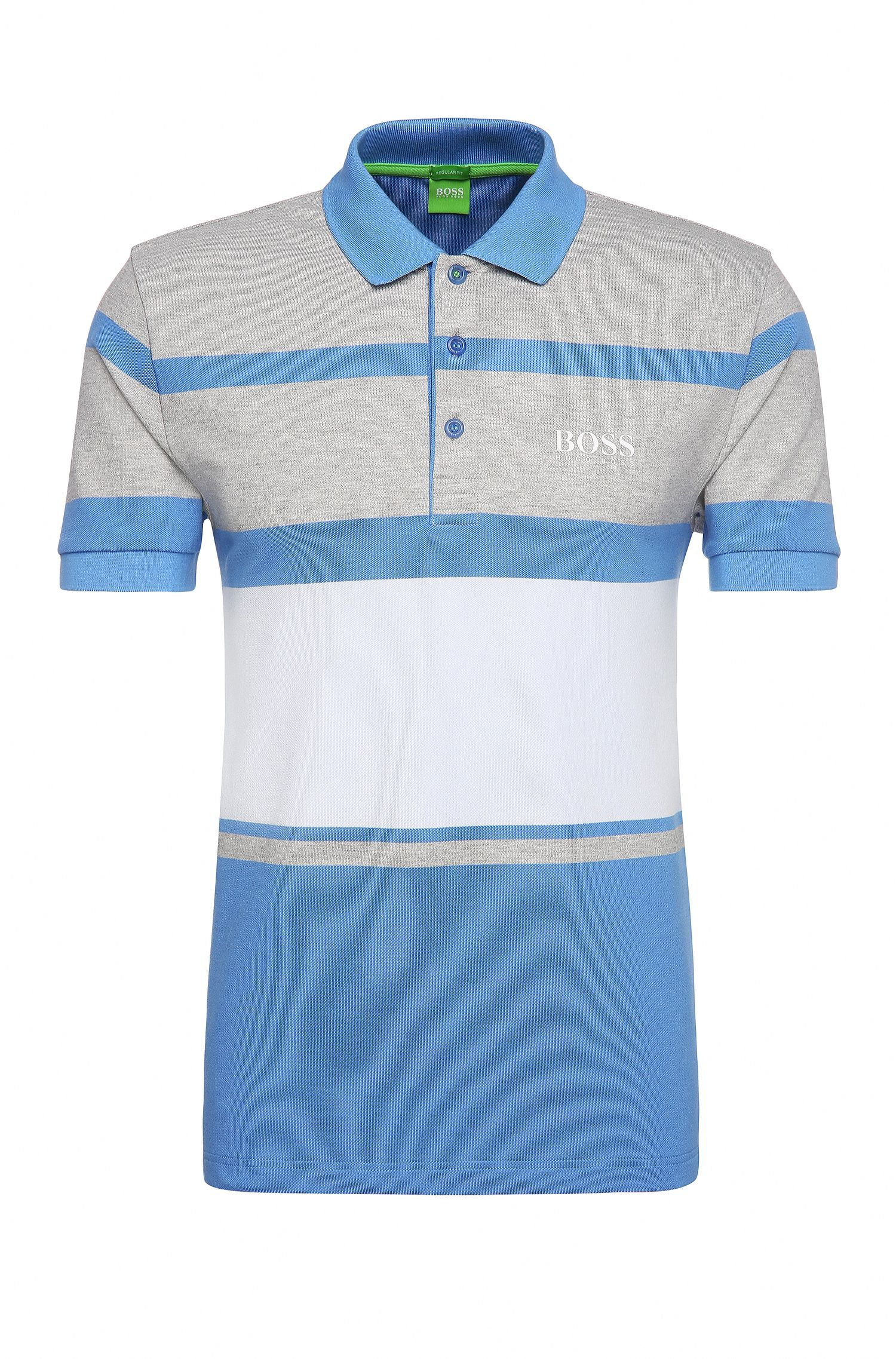 Regular-fit polo shirt in stretch cotton with stripes: 'Paddy Pro 1'