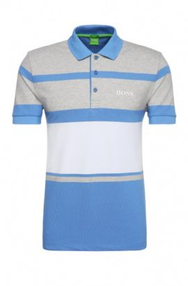 Regular-fit polo shirt in stretch cotton with stripes: 'Paddy Pro 1', Blue
