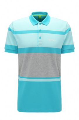 Regular-fit polo shirt in stretch cotton with stripes: 'Paddy Pro 1', Open Blue