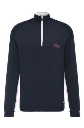 Pullover in maglia idrorepellente in misto cotone elasticizzato: 'Zayo_MK_SR17', Blu scuro