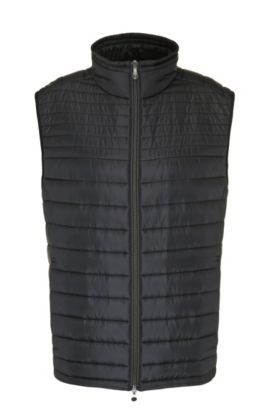 Lightly padded quilted waistcoat in material blend: 'B-Veon 2', Black