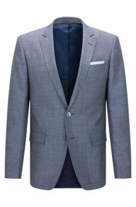 Patterned slim-fit jacket in new wool blend with linen: 'Hutsons3', Blue