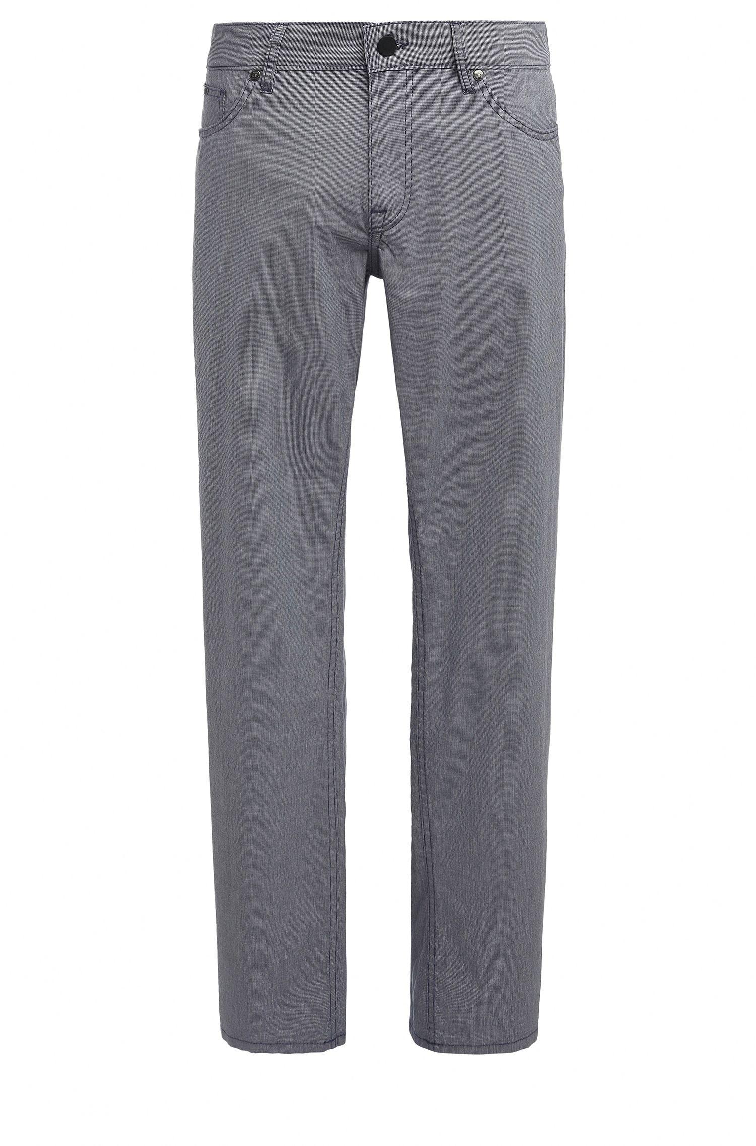 Pantalon Regular Fit en coton extensible à motif pied-de-poule: «C-B4-20»