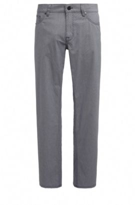 Regular-fit broek van elastische katoen met pied-de-poule-dessin: 'C-B4-20', Donkerblauw