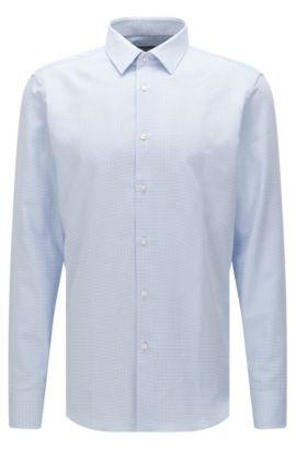 Camicia regular fit a quadretti in cotone: 'Enzo', Celeste