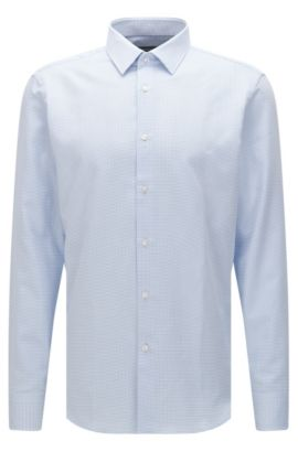 Fein kariertes Regular-Fit Hemd aus Baumwolle: 'Enzo', Hellblau