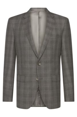 Checked slim-fit Tailored jacket in new wool: 'T-Heel1', Open Grey