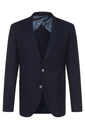 Extra-slim-fit jacket in new wool with mother-of-pearl buttons: 'Raye6', Dark Blue