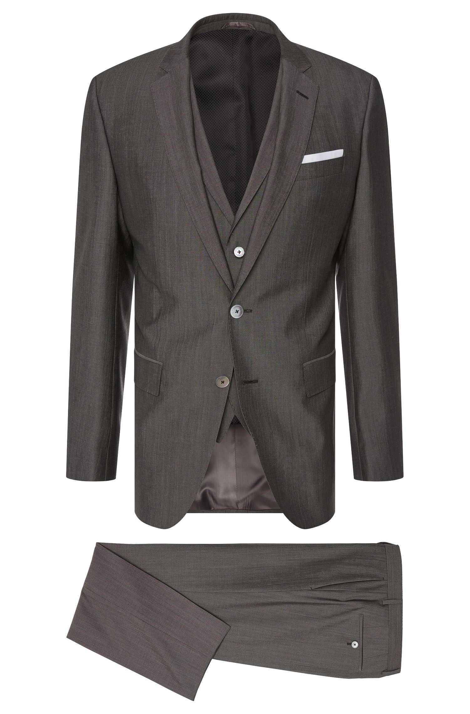 Slim-fit suit in new wool blend with silk and mother-of-pearl buttons: 'Hutson4/Gander1 WE'