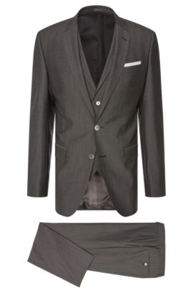 Slim-fit suit in new wool blend with silk and mother-of-pearl buttons: 'Hutson4/Gander1 WE', Black