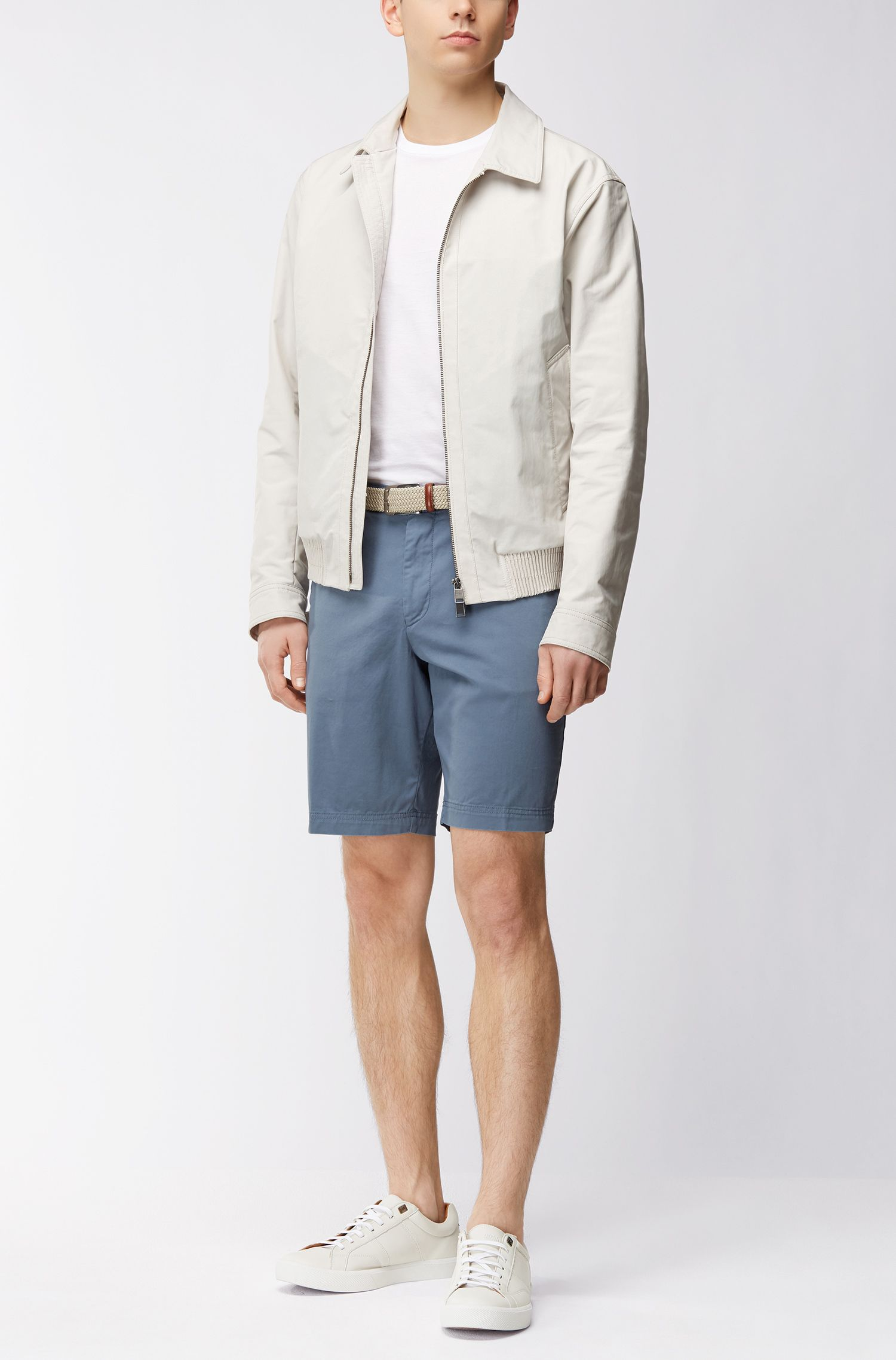 Regular-fit shorts in compact stretch gabardine
