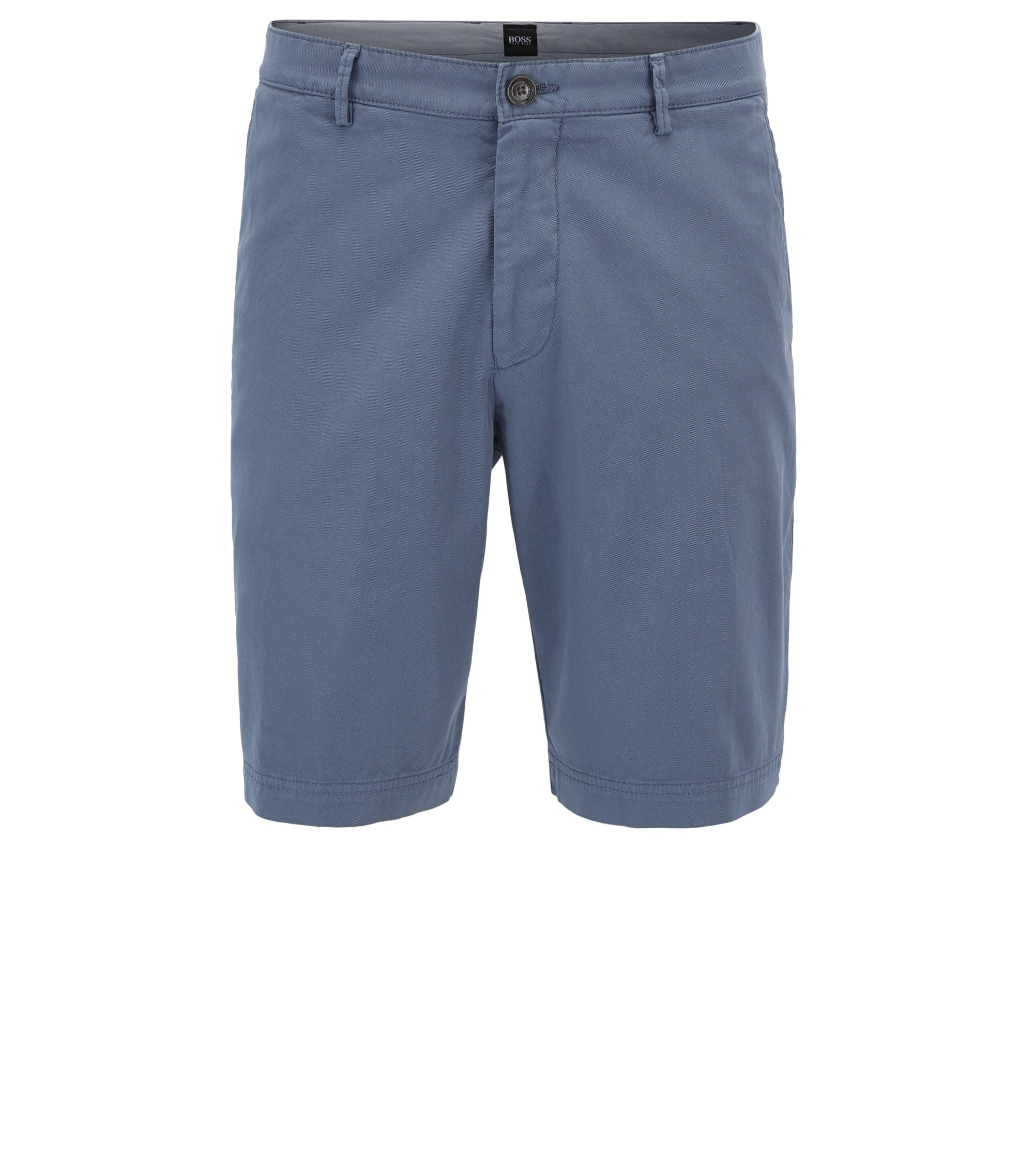 Regular-Fit Shorts aus Stretch-Gabardine , Hellgrau