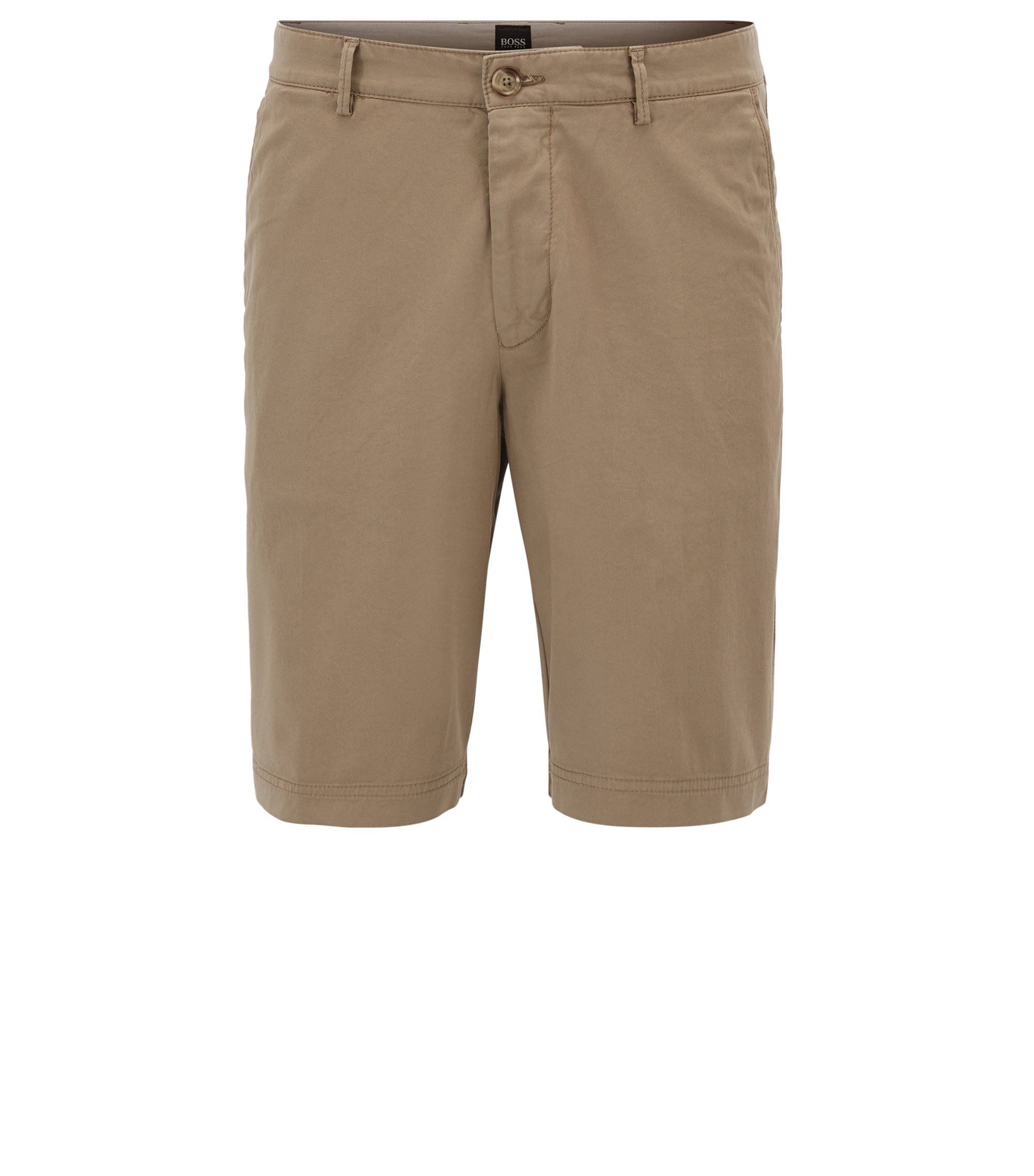 Regular-fit short in compacte stretchgabardine , Beige