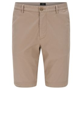 Regular-fit shorts in stretch cotton: 'Crigan-Short-D', Open Beige