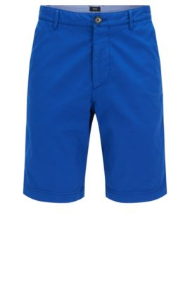 Pantaloncini corti regular fit in cotone elasticizzato: 'Crigan-Short-D', Blu
