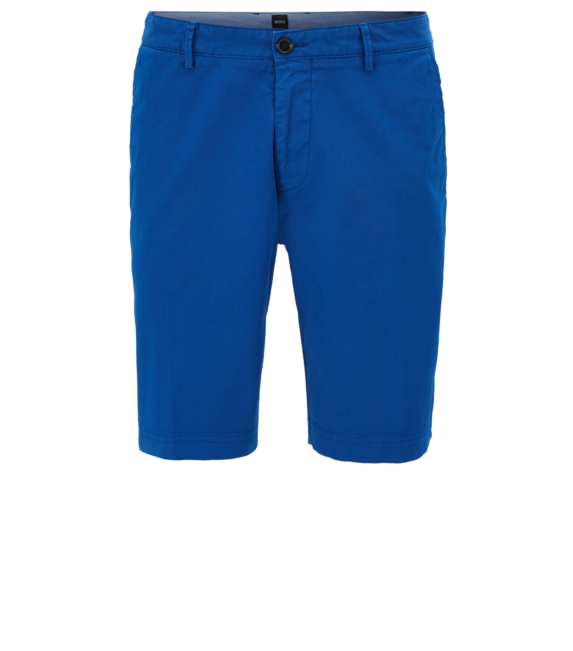 Regular-fit short in compacte stretchgabardine , Blauw
