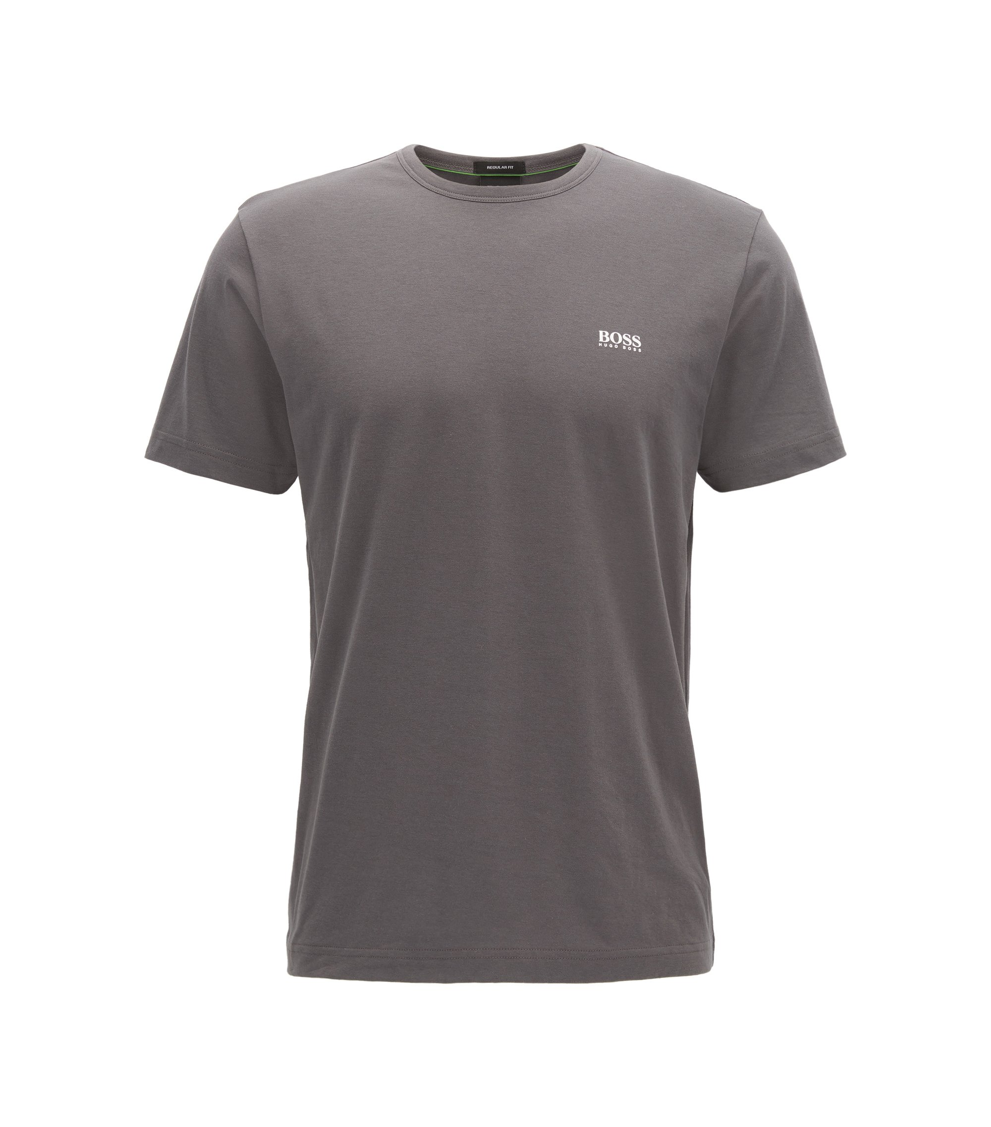 T-shirt regular fit in jersey singolo, Grigio antracite