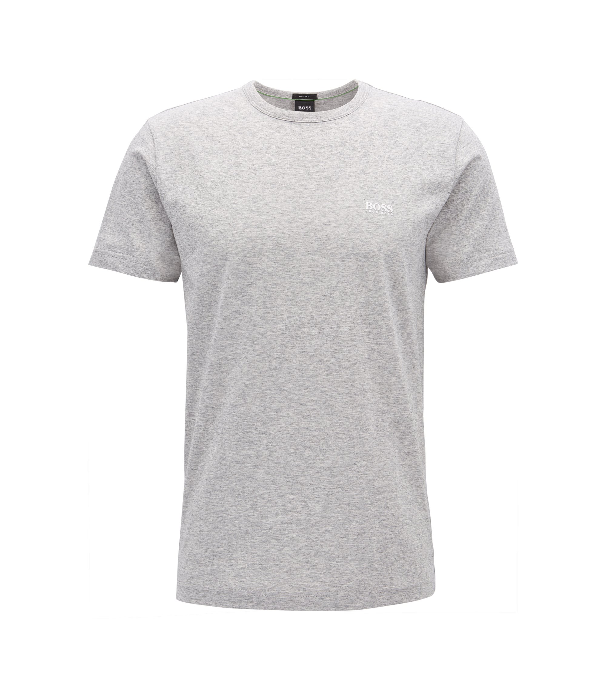 Camiseta regular fit en punto sencillo, Gris claro