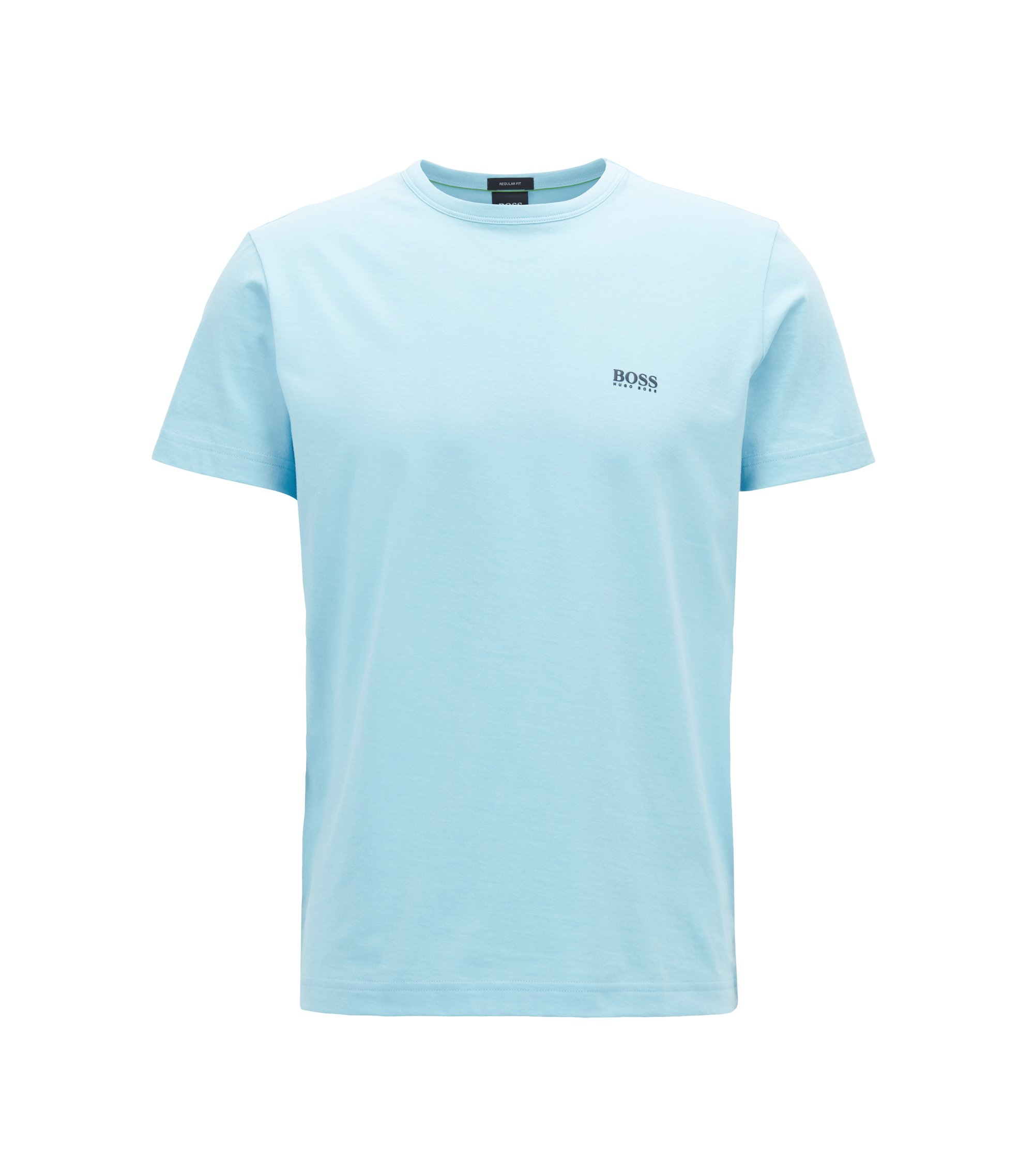 Regular-fit T-shirt in single jersey, Light Blue