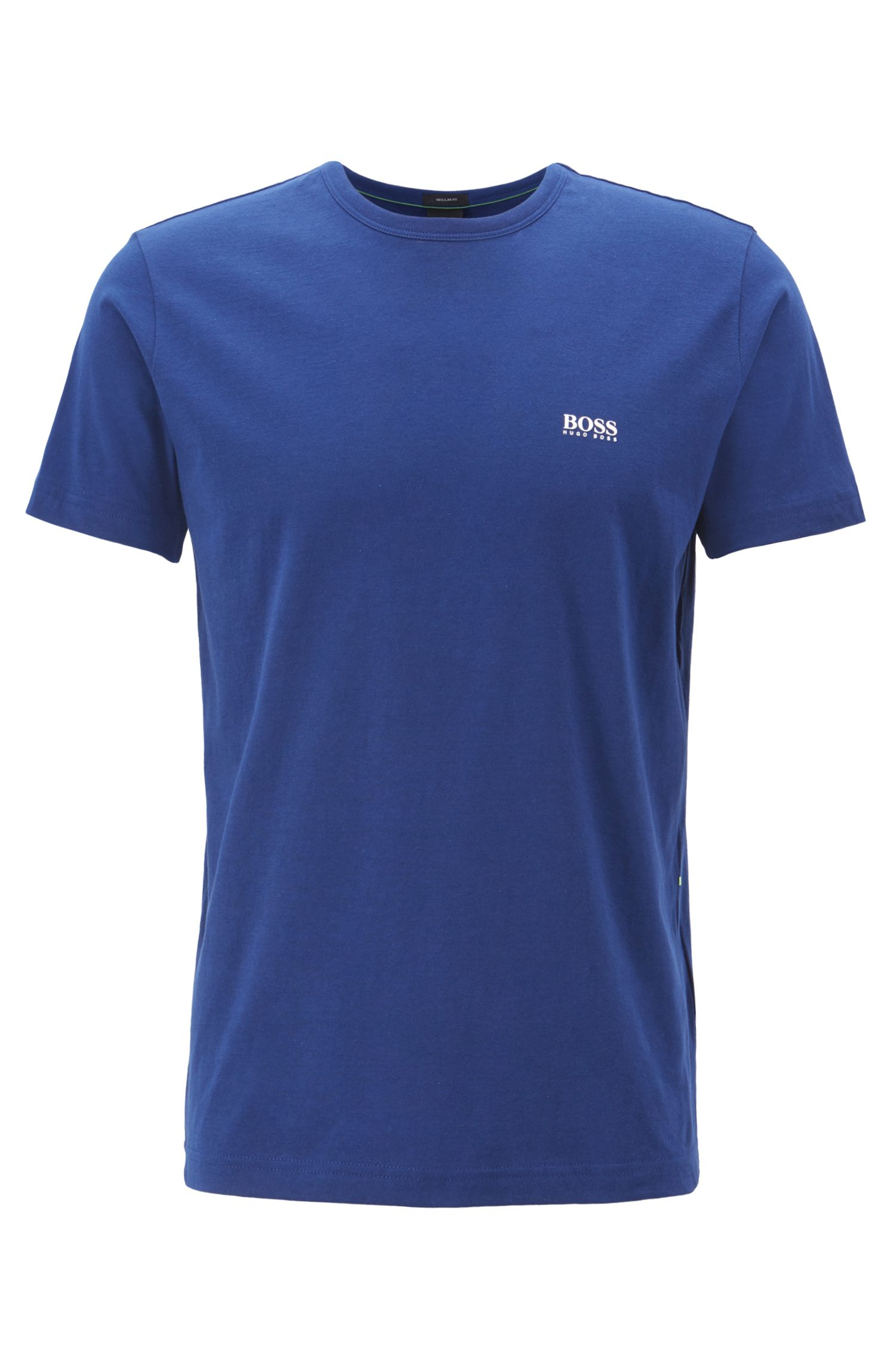 Regular-fit T-shirt in single jersey, Blue