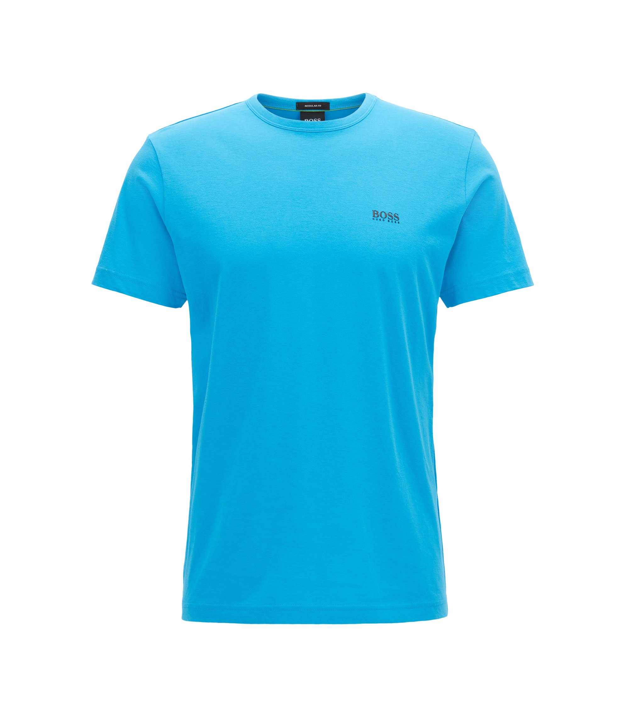 Regular-fit T-shirt in single jersey, Turquoise