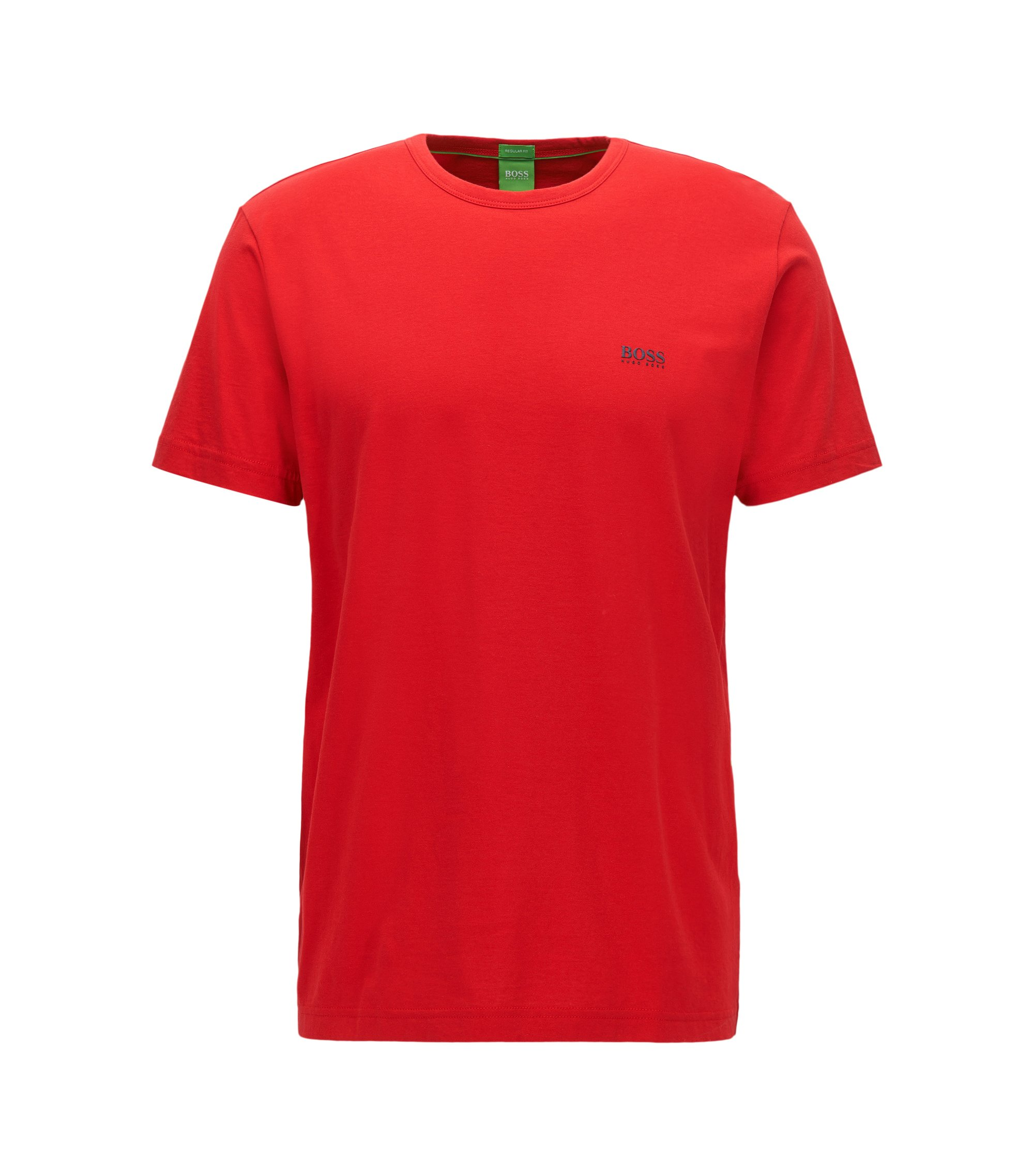 Camiseta regular fit en punto sencillo, Rojo