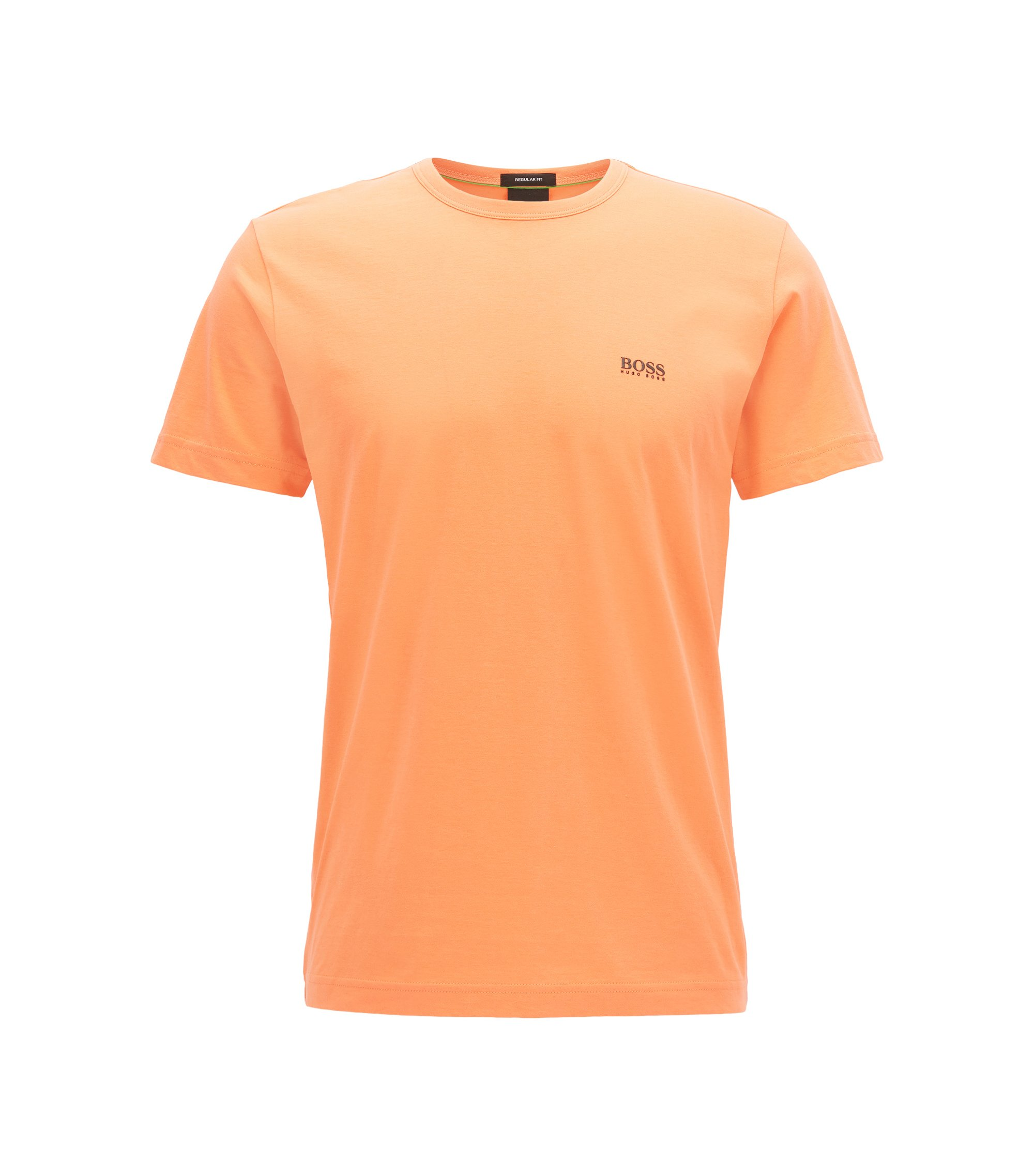 T-shirt Regular Fit en jersey simple, Orange clair