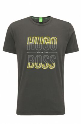 Camiseta regular fit en punto sencillo, Gris oscuro