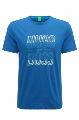 Regular-fit T-shirt in single jersey, Open Blue