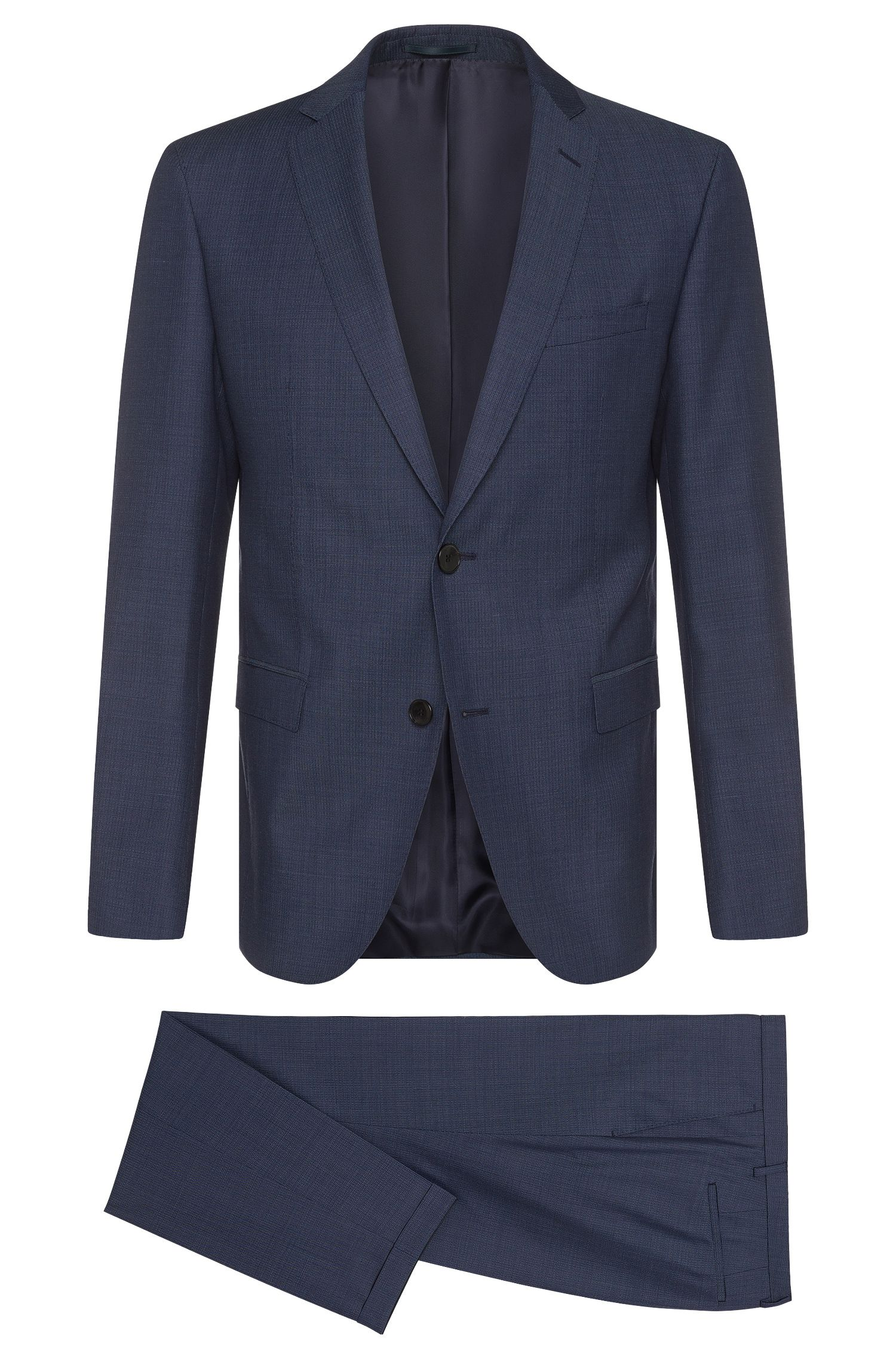 Finely patterned extra-slim-fit suit in new wool: 'Reyno3/Wave1'