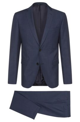 Finely patterned extra-slim-fit suit in new wool: 'Reyno3/Wave1', Blue