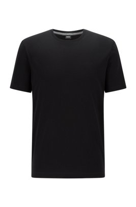 T-Shirt aus reiner Baumwolle mit Logo und spezieller Waschung, Schwarz