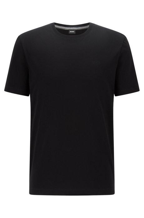 Crew-neck logo T-shirt in liquid-finish cotton, Black