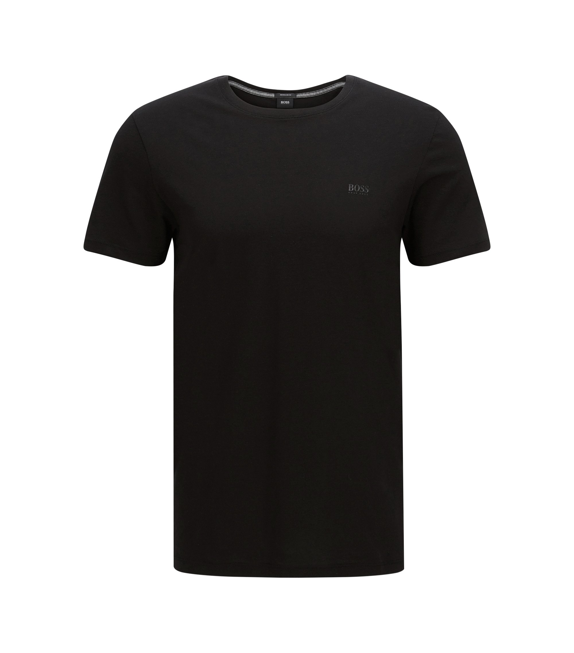 T-shirt regular fit in morbido cotone, Nero
