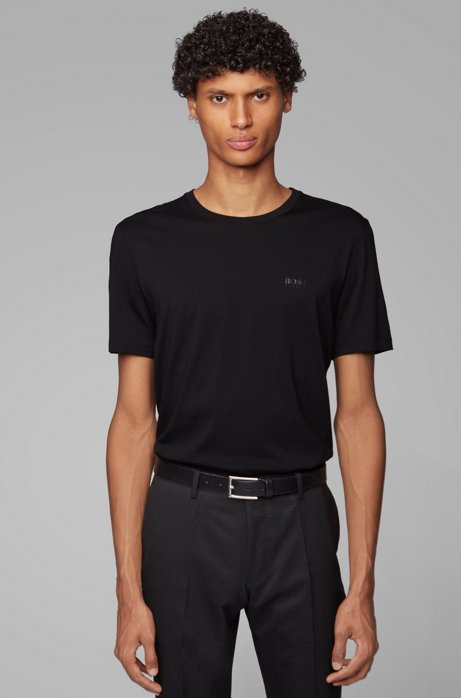 Rundhals-T-Shirt aus Baumwolle mit Liquid Cotton Finish und Logo, Schwarz
